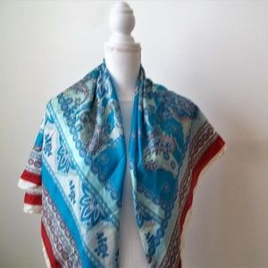 Silk Blue Figured Scarf